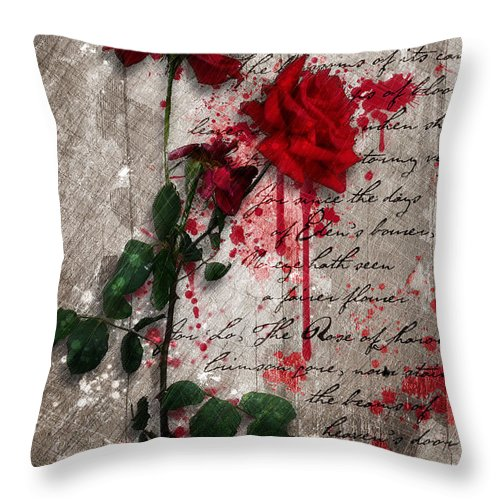 Rose Artwork Throw Pillow featuring the digital art The Rose Of Sharon by Gary Bodnar