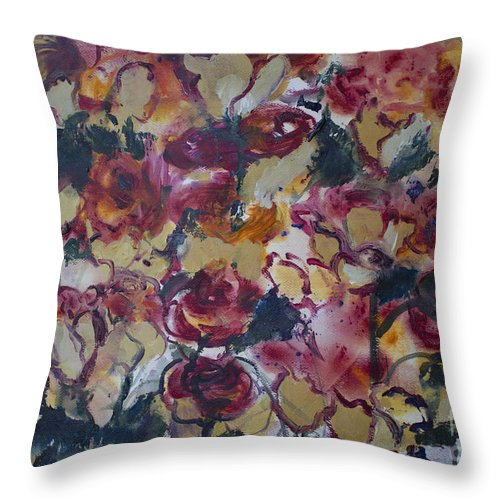 Roses Throw Pillow featuring the painting The Roses by Avonelle Kelsey