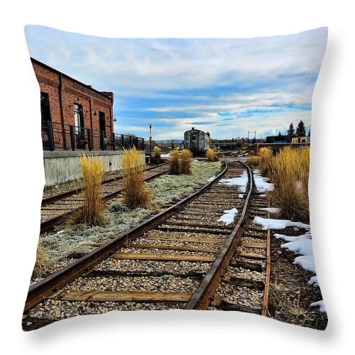 Evanston Throw Pillow featuring the photograph The Roundhouse Evanston Wyoming - 5 by Ely Arsha