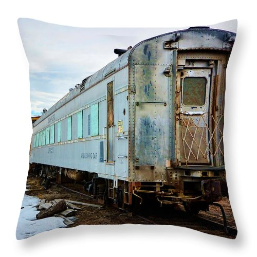 Evanston Throw Pillow featuring the photograph The Roundhouse Evanston Wyoming Dining Car - 1 by Ely Arsha
