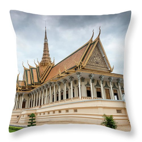 Southeast Asia Throw Pillow featuring the photograph The Royal Palace And Silver Pagoda In by Tbradford