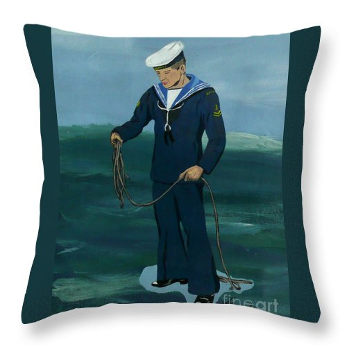 Sailor Throw Pillow featuring the painting The Sailor by Anthony Dunphy