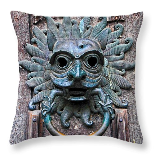 Sanctuary Throw Pillow featuring the photograph The Sanctuary Knocker by David Pringle