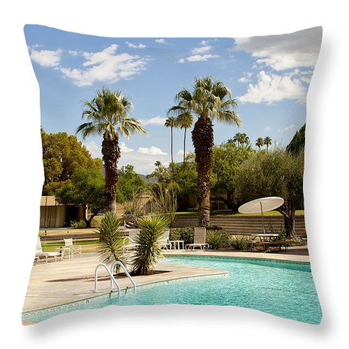 Sandpiper Throw Pillow featuring the photograph The Sandpiper Pool Palm Desert by William Dey