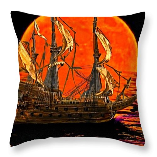 Spanish Gallion Throw Pillow featuring the painting The Sea Of Broken Dreams by Larry E Lamb