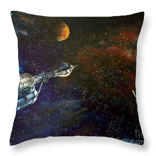 Vista Horizon Throw Pillow featuring the painting The Search for Earth by Murphy Elliott