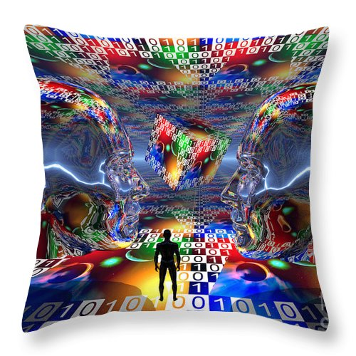 Horizontal Throw Pillow featuring the digital art The Search For Extraterrestrial Life by Mark Stevenson