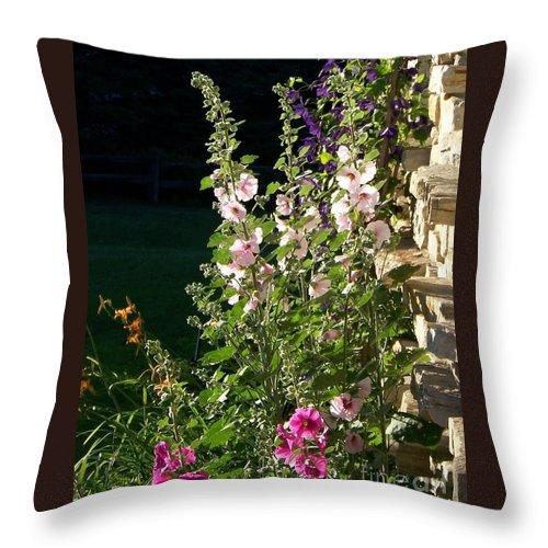 Hollyhocks Throw Pillow featuring the photograph The Secret Garden by Jackie Mueller-Jones