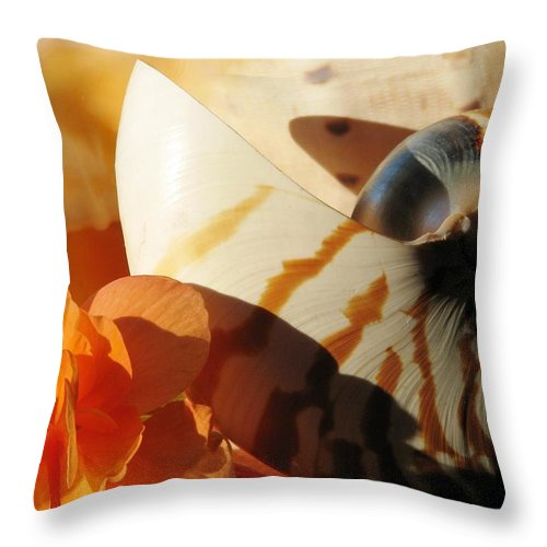 Begonia Throw Pillow featuring the photograph The Secret Of The Sea by Angela Davies