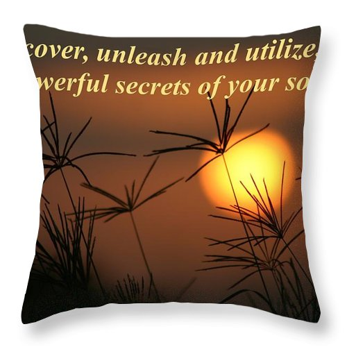 Sunset Throw Pillow featuring the photograph The Secrets Of Your Soul by Pharaoh Martin