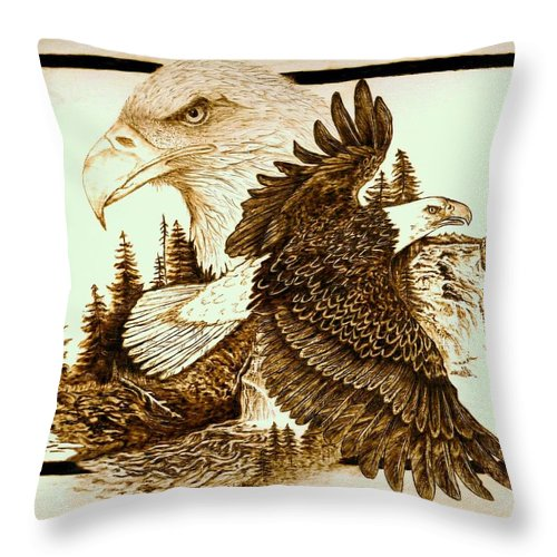 Bald Eagles Throw Pillow featuring the pyrography The Sentinel by Danette Smith