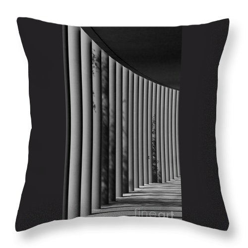 Column Throw Pillow featuring the photograph The Shadows And Pillars Black And White by Mark Dodd
