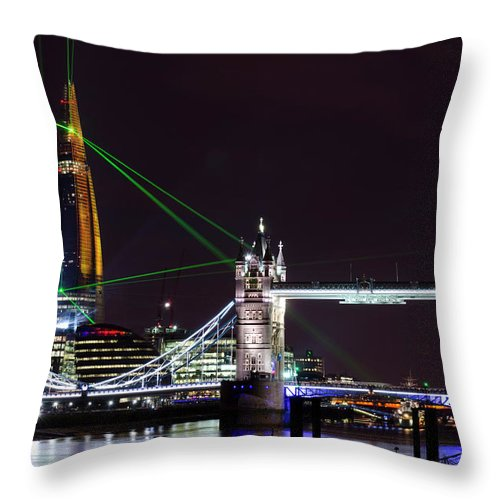 Gothic Style Throw Pillow featuring the photograph The Shard Skyscraper Opening Laser by Dynasoar