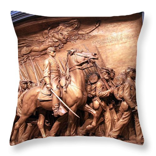 Shaw Throw Pillow featuring the photograph Saint Gaudens' The Shaw Memorial by Cora Wandel