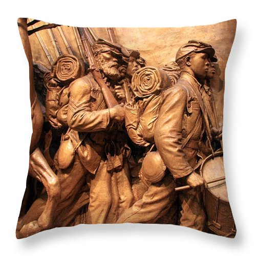 Shaw Throw Pillow featuring the photograph Saint Gaudens -- The Shaw Memorial's Right Side by Cora Wandel