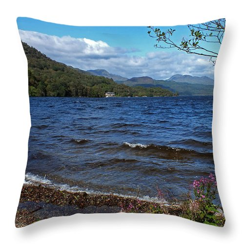 Loch Lomond Throw Pillow featuring the photograph The Shore Of Loch Lomond by John Topman