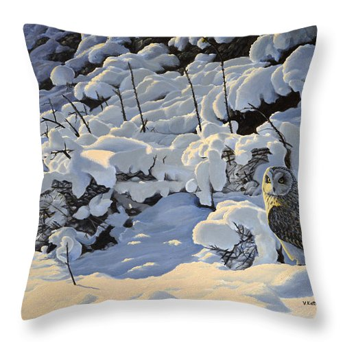 Birds Of Prey Throw Pillow featuring the painting The Short Eared Owls Flew In by Valentin Katrandzhiev