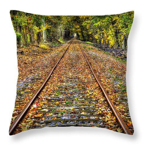 Todd Carter The Shortcut Railroad Tracks Track Leaves Green Yellow Orange Brown Rust Tree Trees Path Wabash Erie Canal Park Throw Pillow featuring the photograph The Shortcut by Todd Carter