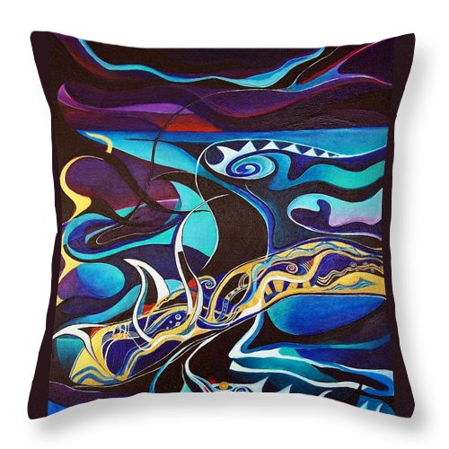 Homer Odyssey Ulysses Sirens Sea Singing Acrylic Abstract Symbolic Greek Mythology Throw Pillow featuring the painting the singing of the Sirens by Wolfgang Schweizer