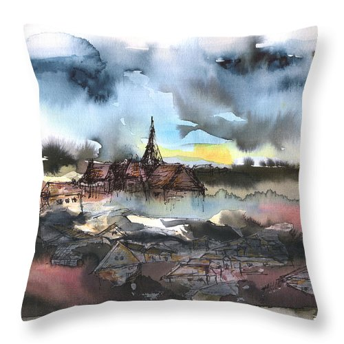 Watercolor Landscape Throw Pillow featuring the painting The Sinking Village by Aniko Hencz