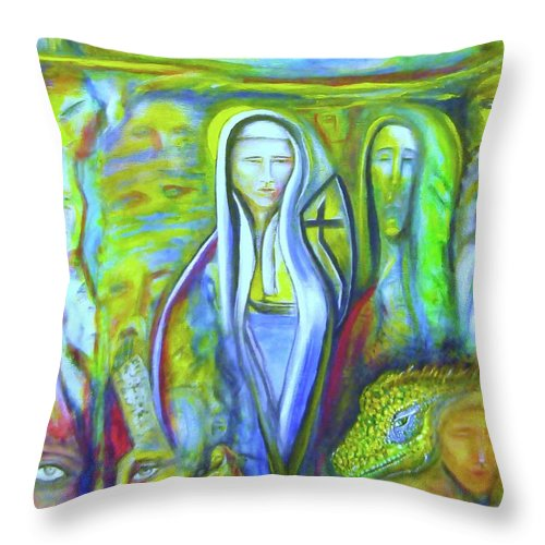 Paintings Throw Pillow featuring the painting The Sister by Kicking Bear Productions
