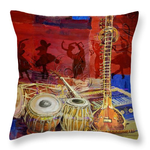 Indian Music Throw Pillow featuring the painting The Sitar Dhol Tabla And Harmonium by Corporate Art Task Force