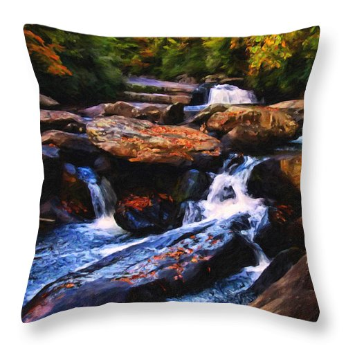 Waterfalls. Landscapes Throw Pillow featuring the digital art The Skull Waterfall by Chris Flees