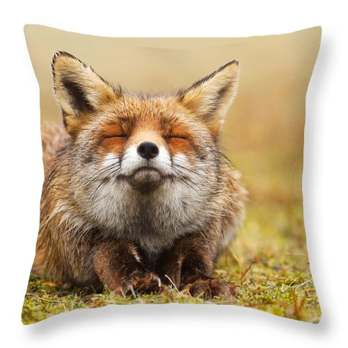 Fox Throw Pillow featuring the photograph The Smiling Fox by Roeselien Raimond