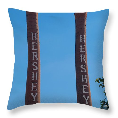 Chimney Throw Pillow featuring the photograph The Smoke Stacks by Mark Dodd