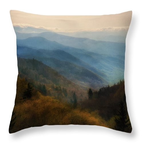 Sunrise Throw Pillow featuring the photograph The Smokies by Priscilla Burgers