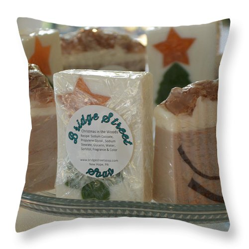 Bridge Street Soap Throw Pillow featuring the photograph The Soap Bar by JG Thompson