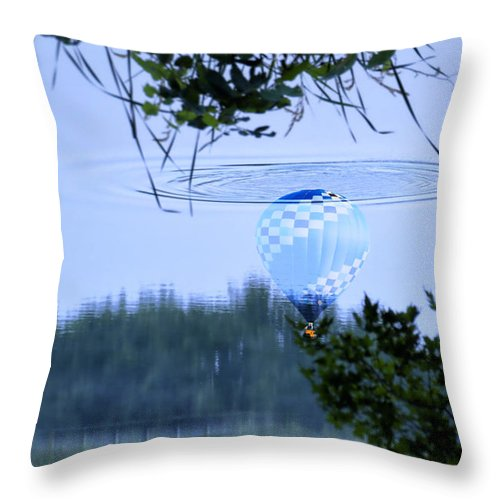 Balloon Throw Pillow featuring the photograph The Source Of Lake Ripples 01 by Thomas Woolworth