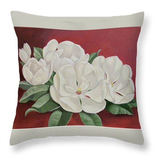 Flower Throw Pillow featuring the painting The Southern Beauty by Wanda Dansereau