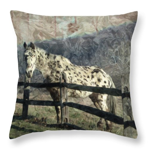 Horse Throw Pillow featuring the photograph The Speckled Horse by Trish Tritz