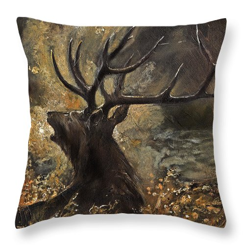 Stag Throw Pillow featuring the painting the Stag sitting in the grass oil painting by Angel Ciesniarska