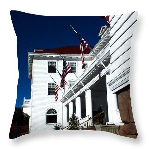 Stanleyhotel Throw Pillow featuring the photograph The Stanley Hotel by To See Our World Photography