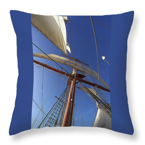 Nautical Throw Pillow featuring the photograph The Star Of India. Mast And Sails by Ben and Raisa Gertsberg