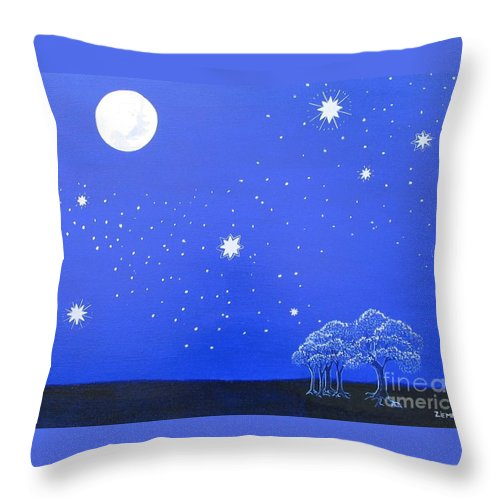 Trees Throw Pillow featuring the painting The Starry Night by Lori Ziemba