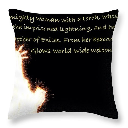 Statue Of Liberty Digital Art Throw Pillow featuring the digital art A Mighty Woman The Statue Of Liberty by Nikki Keep