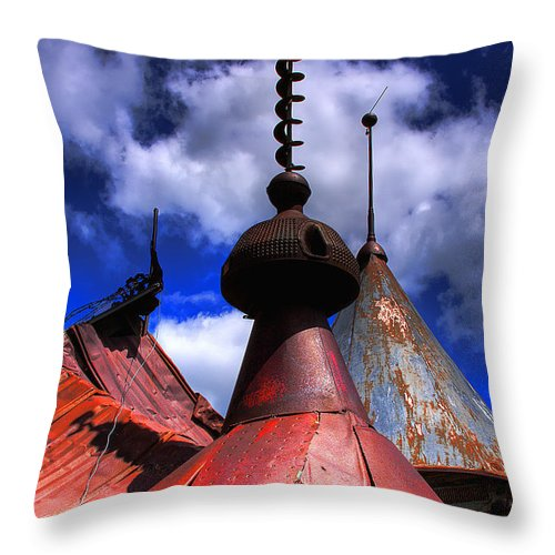 Junk Castle Throw Pillow featuring the photograph The Steeples by David Patterson