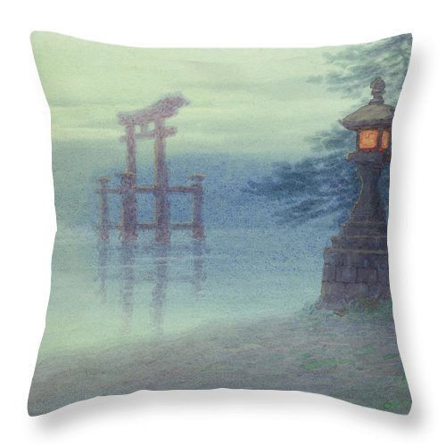 Japanese Throw Pillow featuring the painting The Stone Lantern Cira 1880 by Aged Pixel