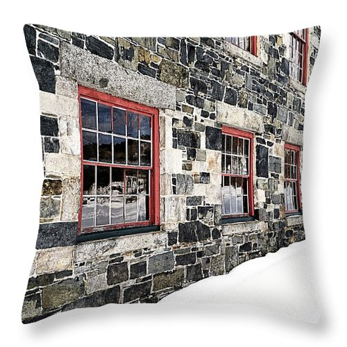 Barn Throw Pillow featuring the photograph The Stone Mill At The Enfield Shaker Museum by Edward Fielding