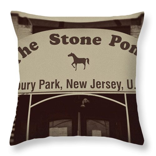 The Stone Pony Vintage Asbury Park New Jersey Throw Pillow featuring the photograph The Stone Pony Vintage Asbury Park New Jersey by Terry DeLuco