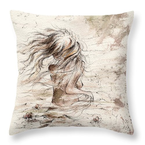Woman Throw Pillow featuring the painting The Storm by Rachel Christine Nowicki