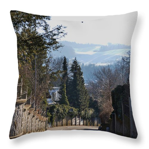 Street Photo Throw Pillow featuring the photograph The Street In Upper Town 2 by Felicia Tica