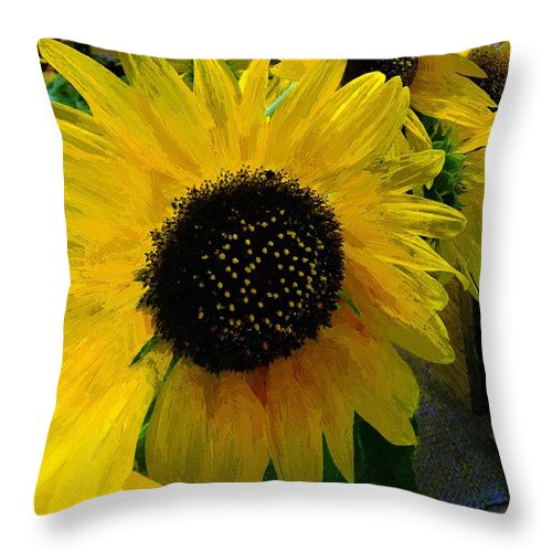Sunflower Throw Pillow featuring the painting The Sun King by RC DeWinter