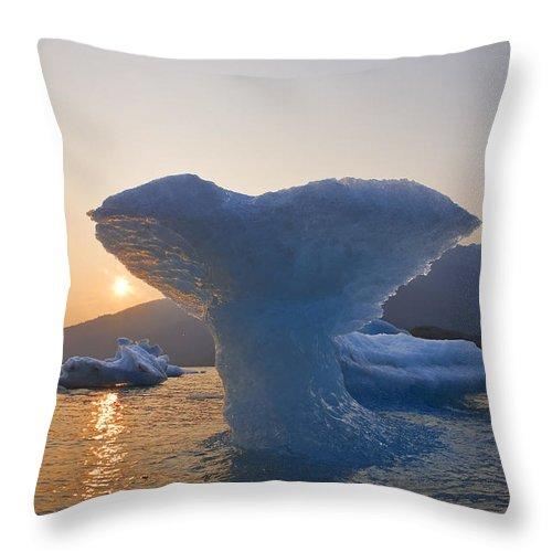 Frozen Throw Pillow featuring the photograph The Sun Sets Beyond An Ice Sculpture Of by John Hyde