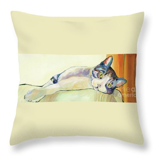 Pat Saunders-white Canvas Prints Throw Pillow featuring the painting The Sunbather by Pat Saunders-White