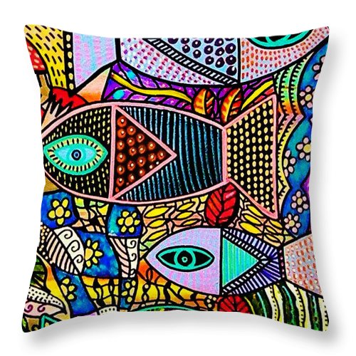 Women Throw Pillow featuring the painting The Talavera Sea by Sandra Silberzweig