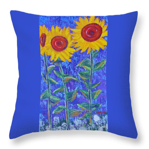 Sunflowers Throw Pillow featuring the painting The Tall And Short Of It by Margaret Bobb